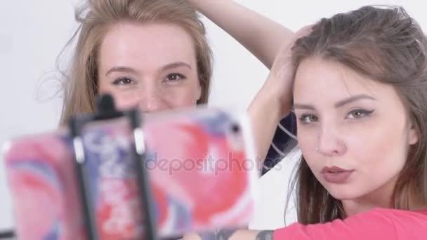Slow-Motion of Two Girls Making Selfie