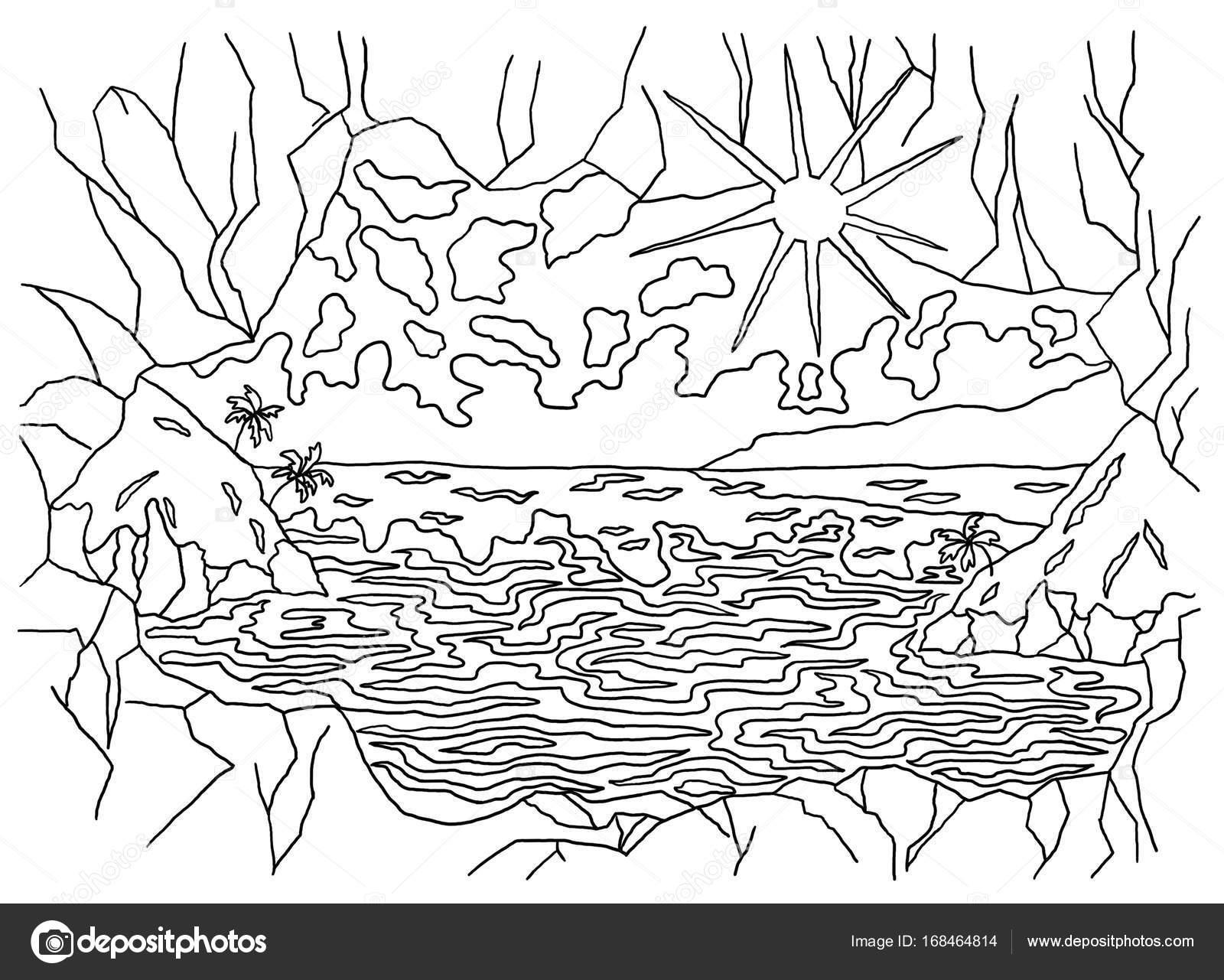 Dibujo De Paisaje Marino Para Colorear: Livros De Colorir Para Crianças E Adultos. Uma Imagem Da