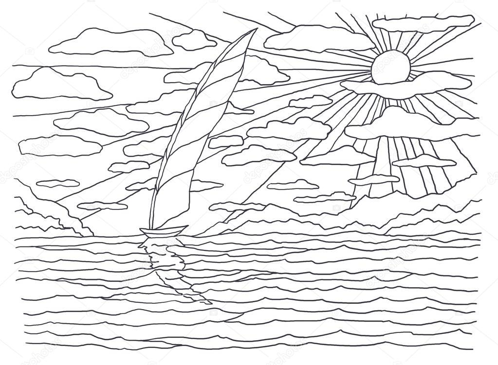 Coloring books for children and adults. An image of nature. Landscape painting. The idea of coloring. Sea. Sailing boats