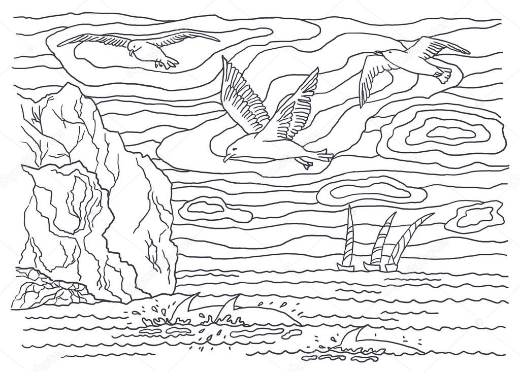 Coloring books for children and adults. An image of nature. Landscape painting. The idea of coloring. Birds, seagulls, sailfishes, dolphins