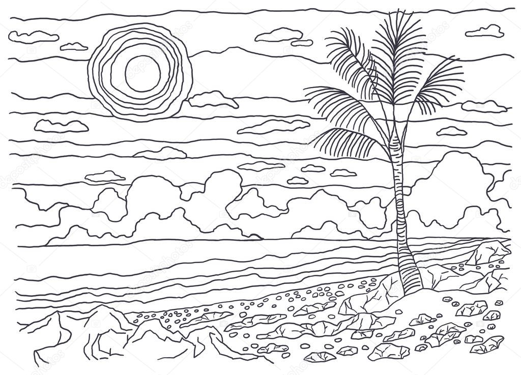 Coloring books for children and adults. An image of nature. Landscape painting. The idea of coloring. The mountains. Coast, stones, sand, palm trees, sun, sky, clouds, sea, water.