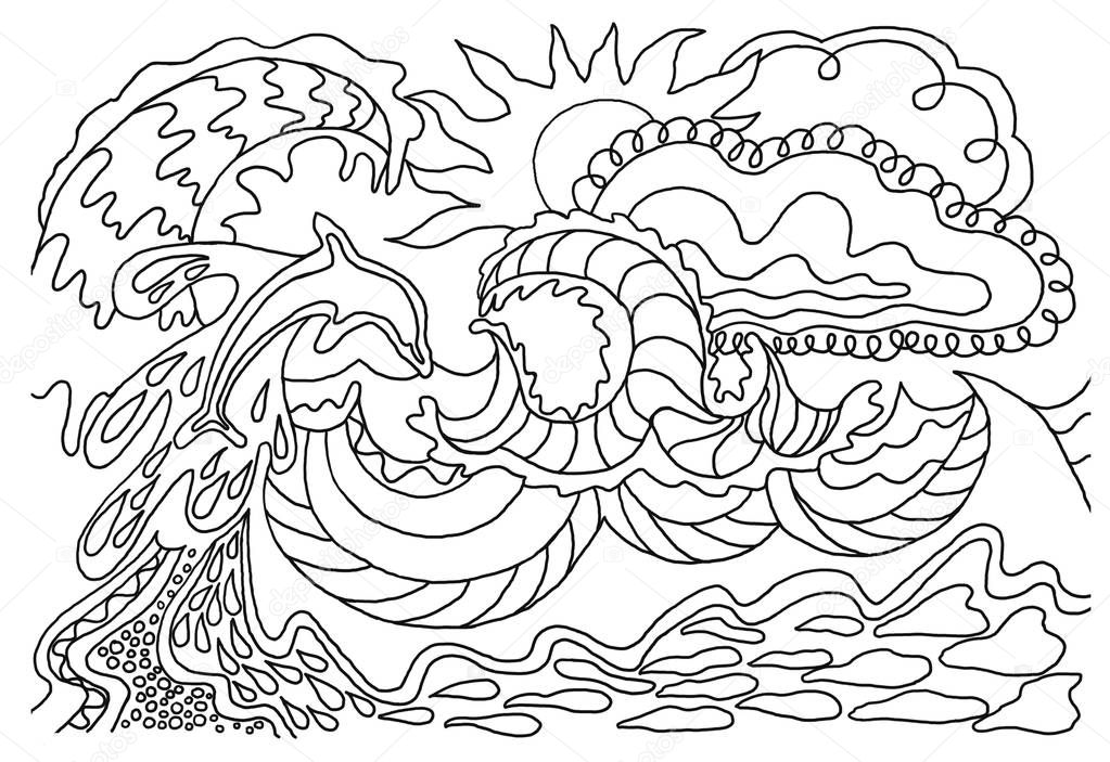 Coloring books for children and adults. An image of nature. Stylization. The idea of coloring.