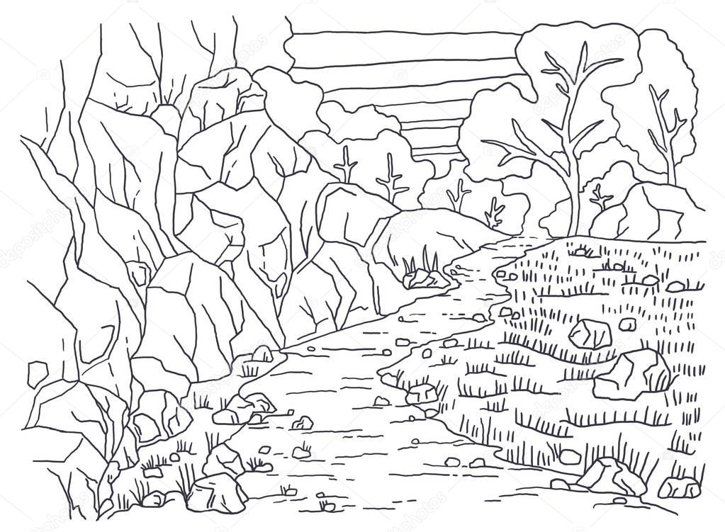 Coloring books for children and adults. An image of nature. Landscape painting. The idea of coloring. Mountain, plants, grass, path, trees.