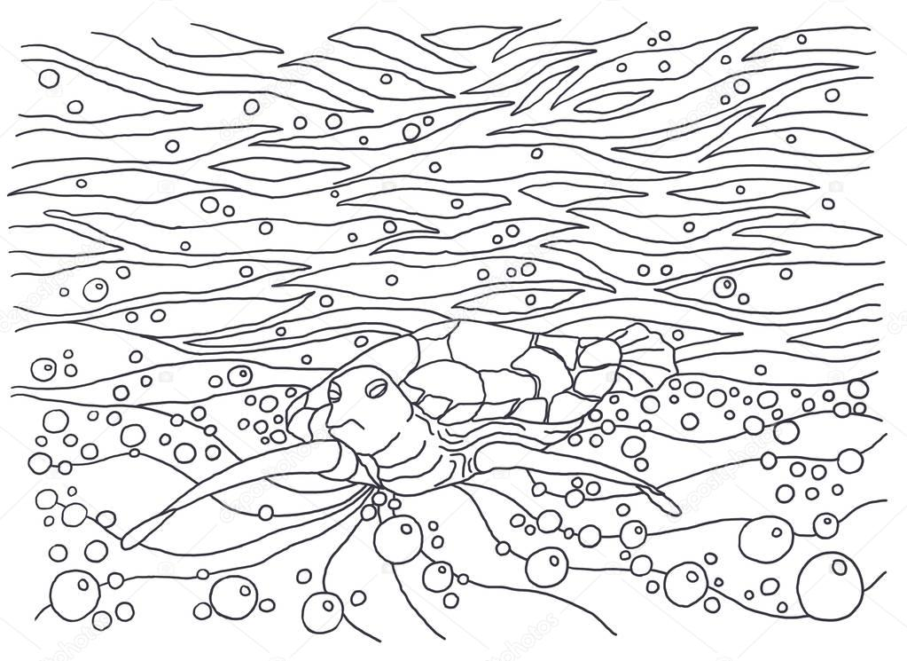 Turtle. Coloring books for children and adults. An image of nature. The idea of coloring. Bubbles, air, motion.