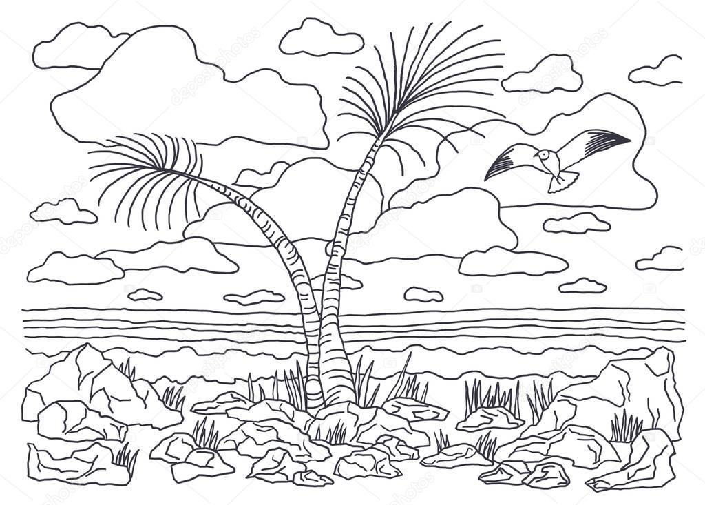 Coloring books for children and adults. An image of nature. Landscape painting. The idea of coloring. sea, palm trees, water, sky, bird, seagull, clouds.