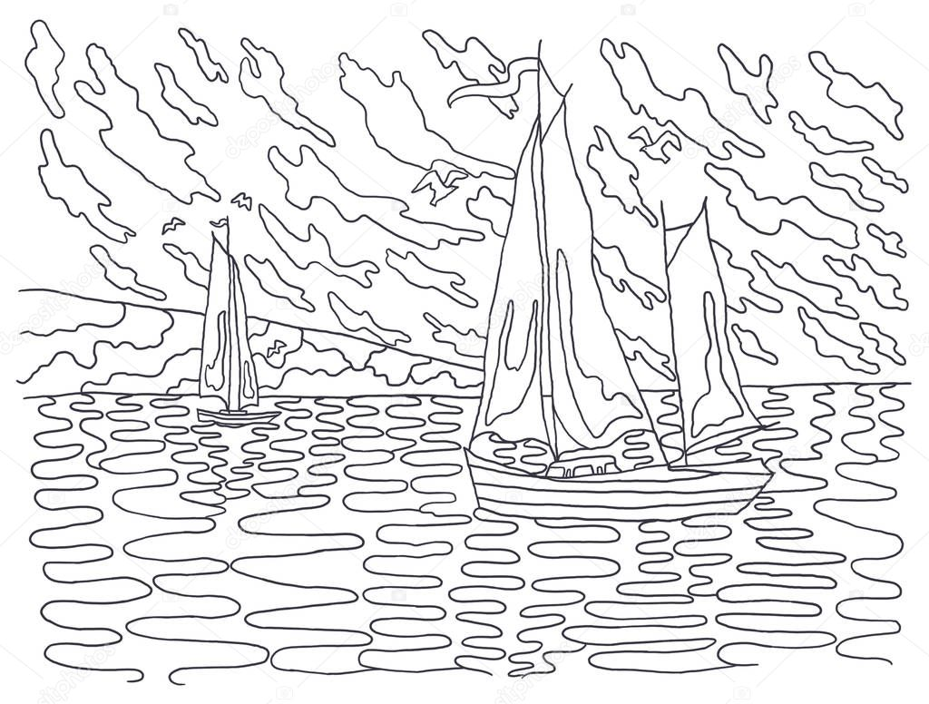 Coloring books for children and adults. An image of nature. Landscape painting. The idea of coloring. sea, sailboats, set, water, sky, clouds.