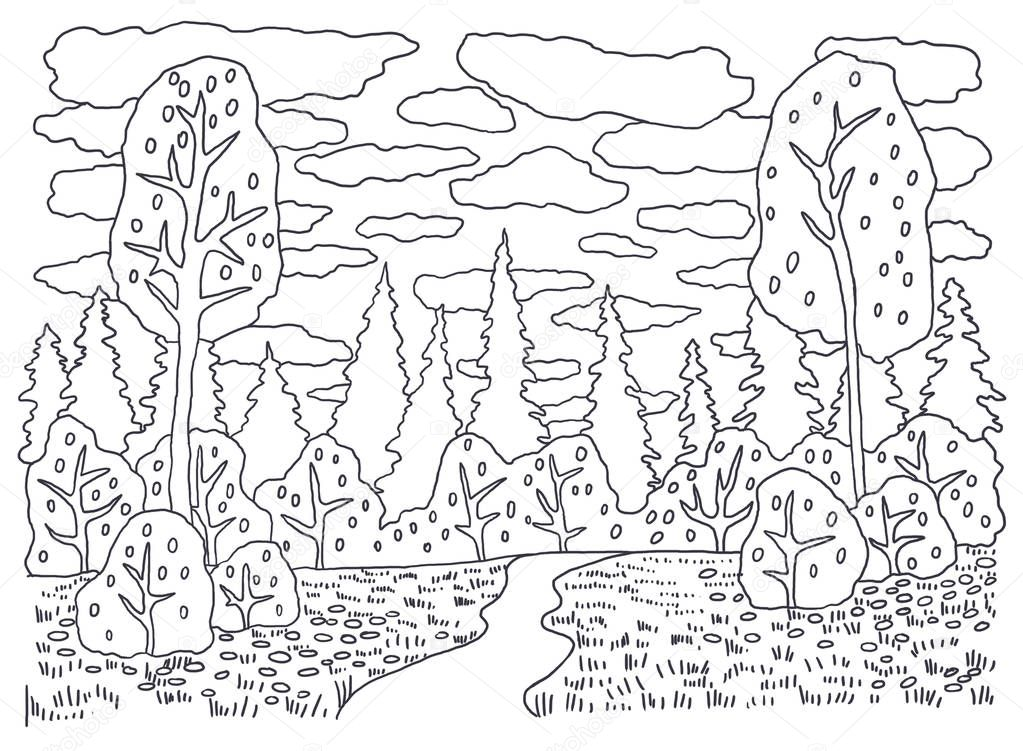 Coloring books for children and adults. An image of nature. Landscape painting. The idea of coloring. autumn, path, trees, water, sky, clouds.