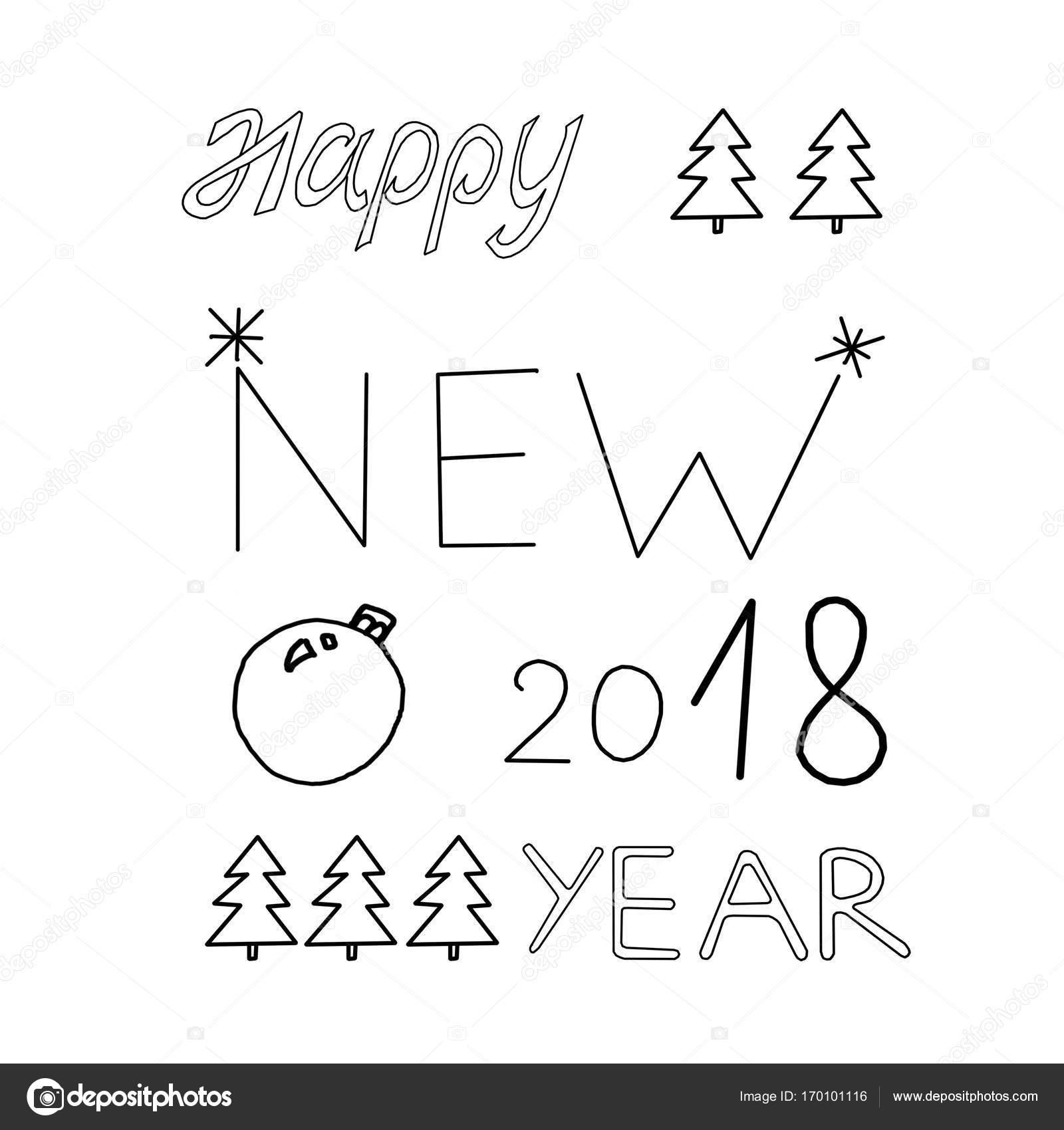 Kelime Happy New Year Kartpostal çizim Boyama Stok Foto