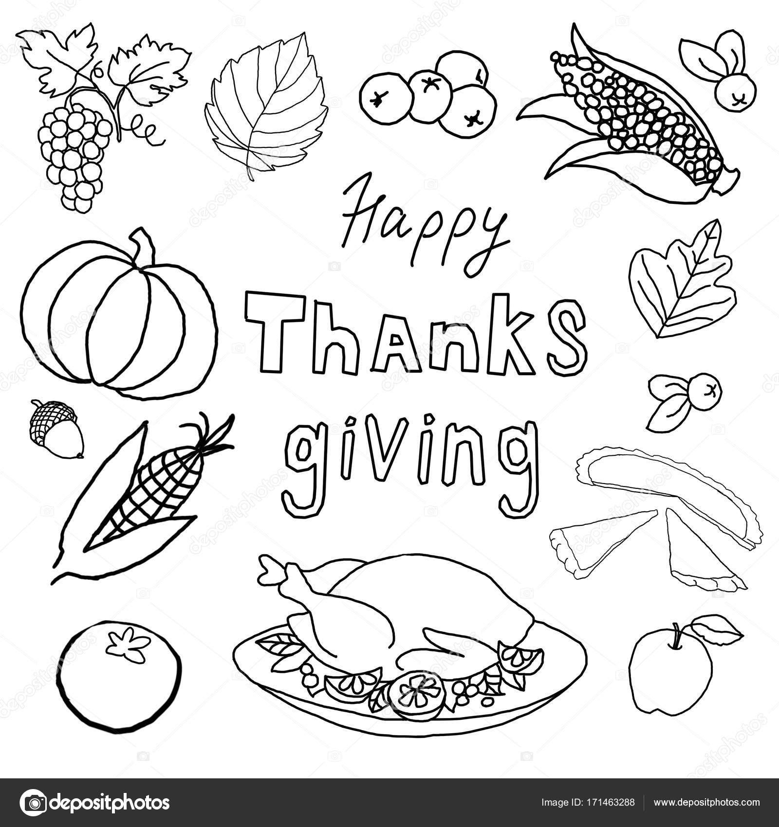 Día de acción de gracias. Plantilla para colorear — Fotos de Stock ...