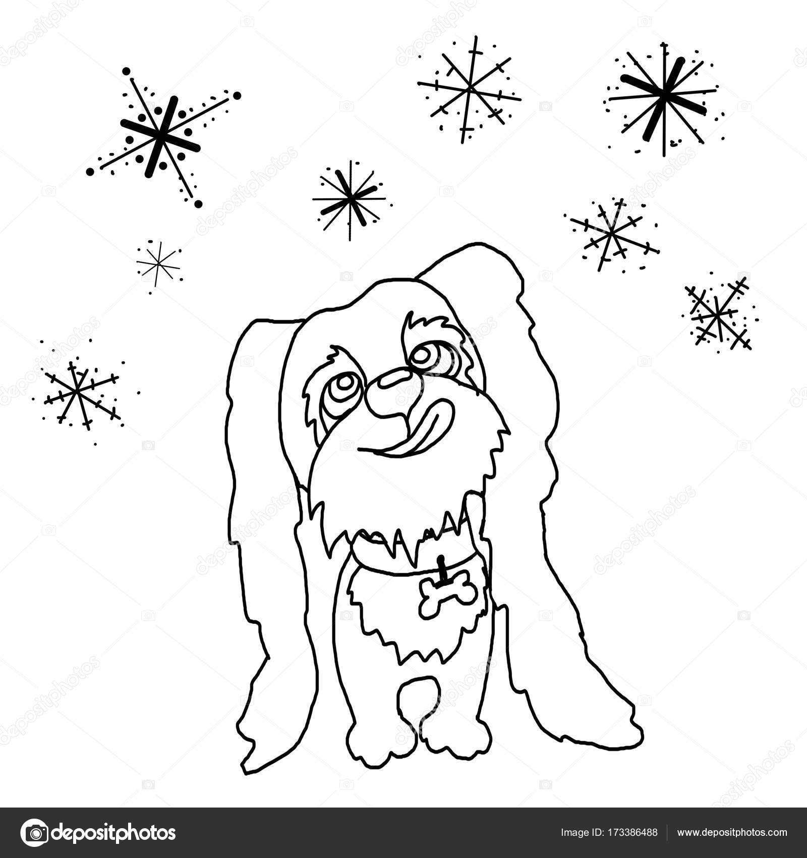 Boyama Köpek Köpek Yavrusu Kar Taneleri Yakalamak Stok Foto