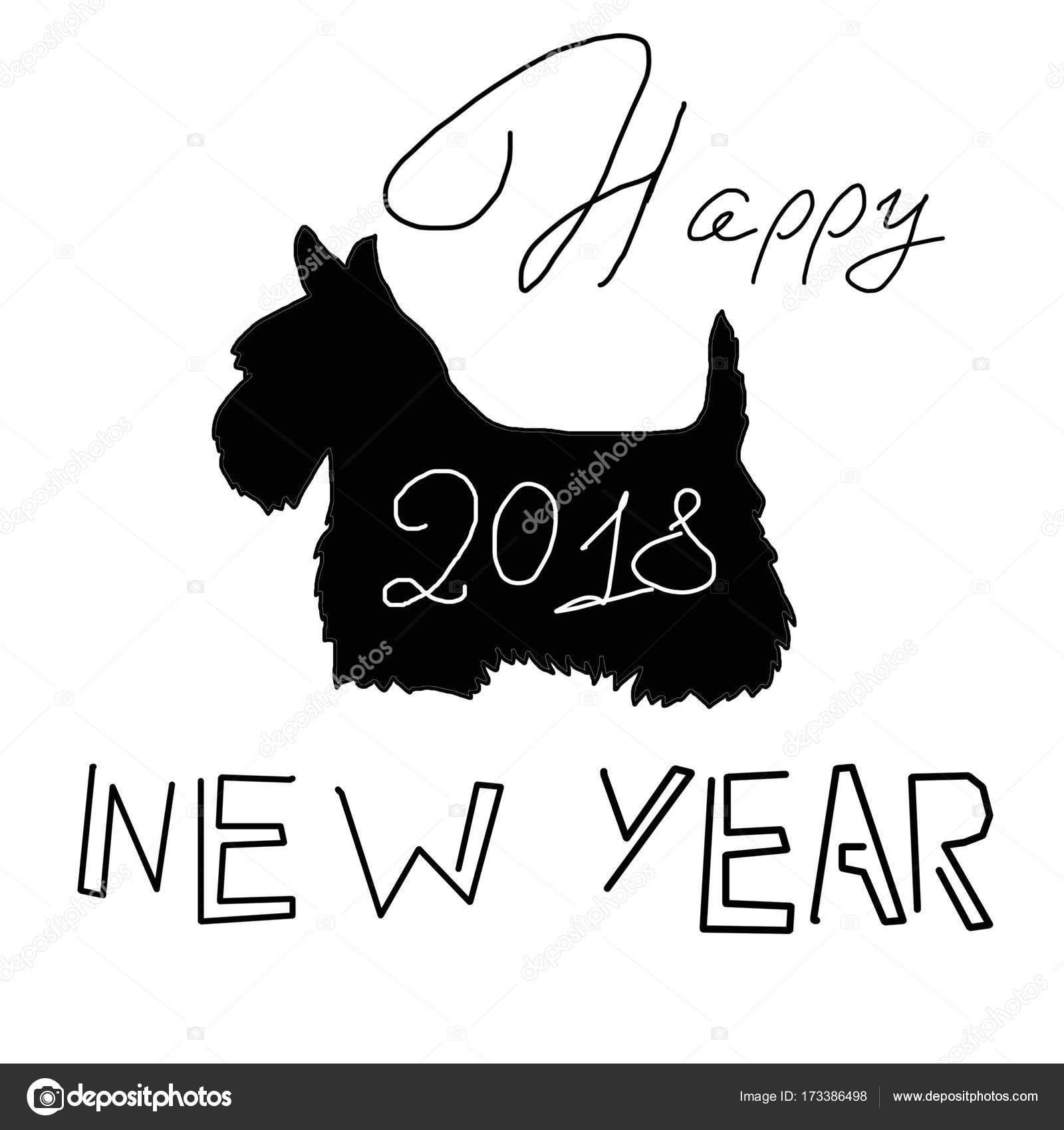 Black dog silhouette scottish terrier with a sign of a happy year greeting card happy new year black and white postcard postcard with the silhouette of a dog a scottish terrier black dog silhouette simple and m4hsunfo