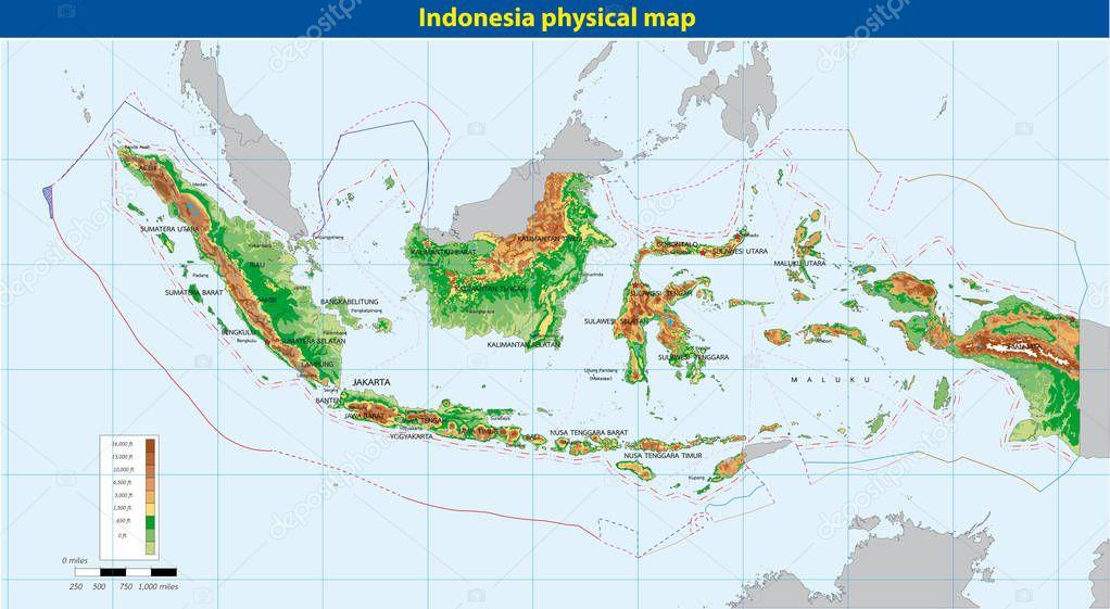 Indonesien Karte Physisch.Physische Karte Von Indonesien Stockvektor C Magemasher