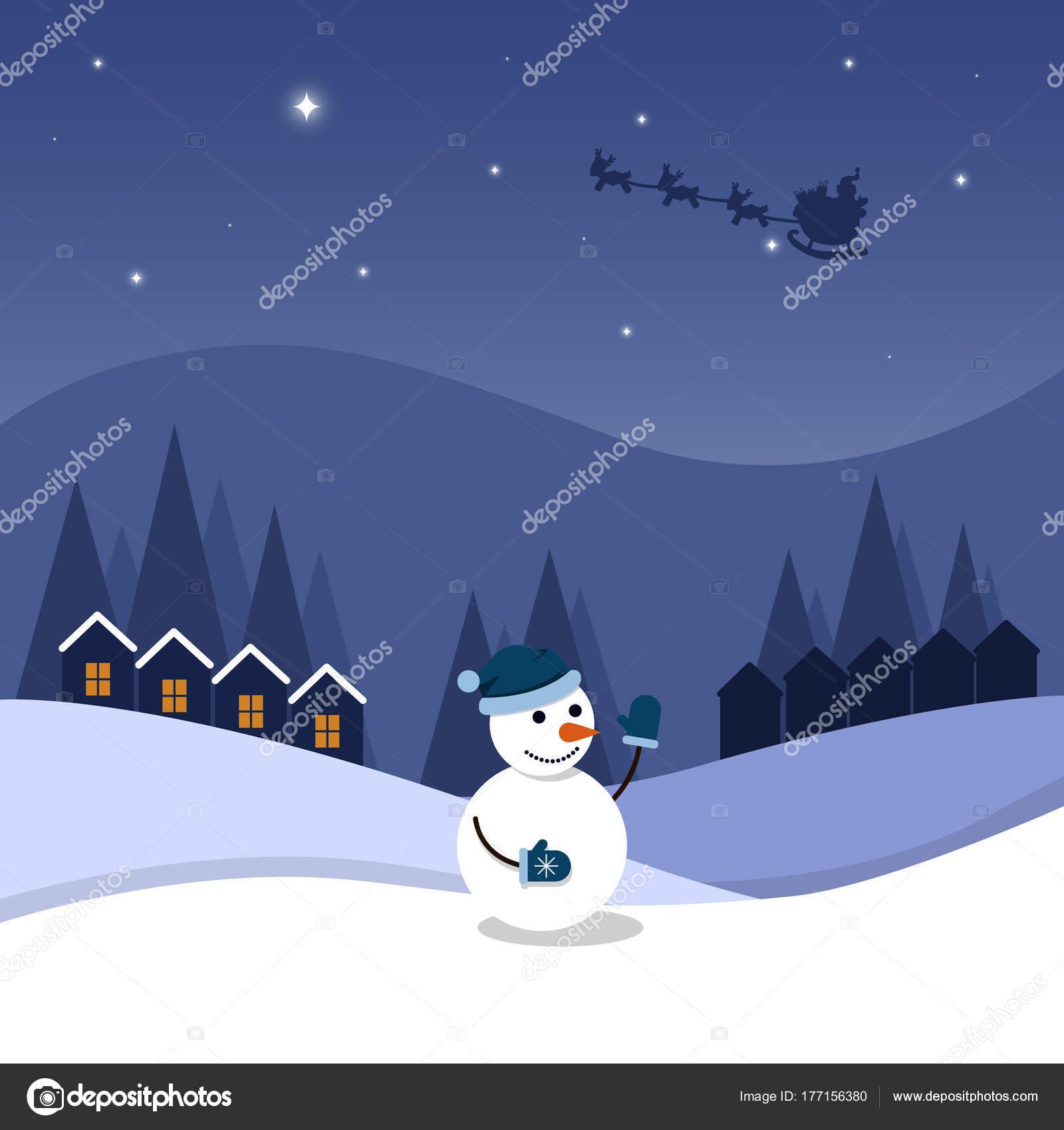 Dessin Anime Nuit Noel Etoilee Joyeux Bonhomme Neige Illustration