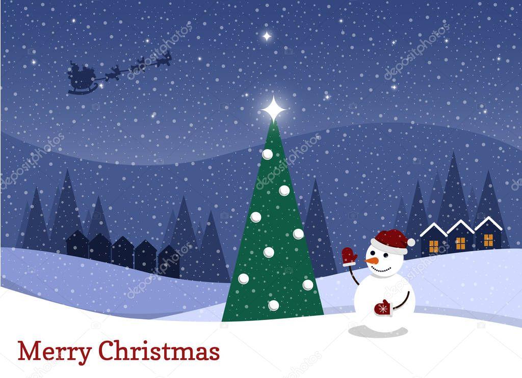 9bf0645ea0a Dibujos animados nevando noche estrellada muñeco nieve Árbol navidad  ilustración vector de stock cathal shtadler jpg