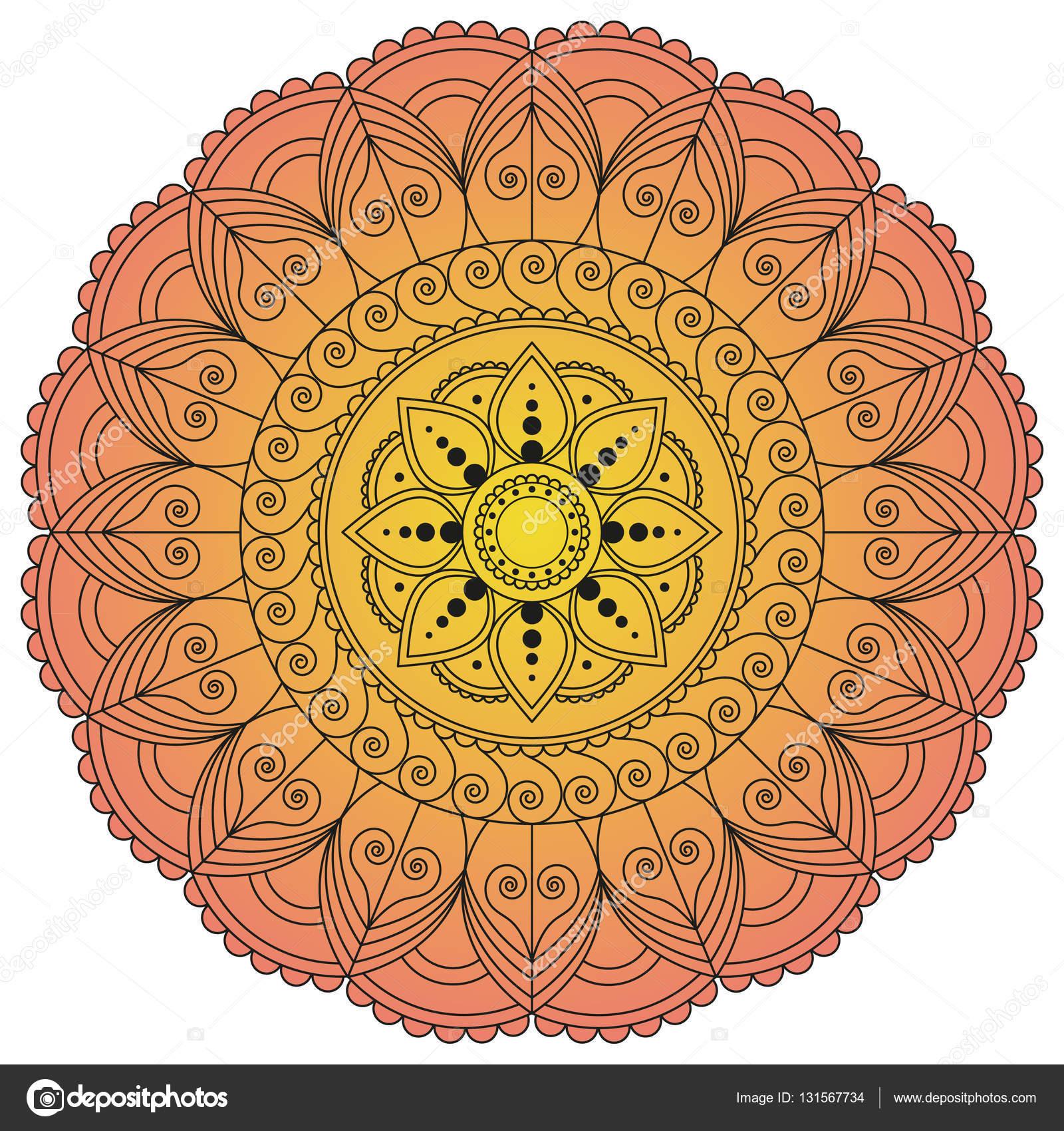 Blume Mandala. Vintage Deko-Elemente. Orientalische Muster, v ...