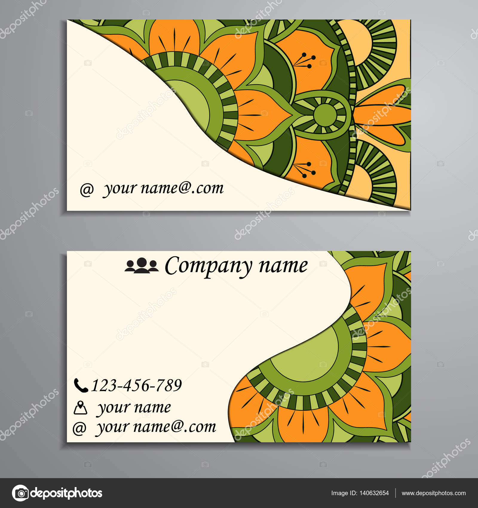 Invitation, business card or banner with text template  Round fl
