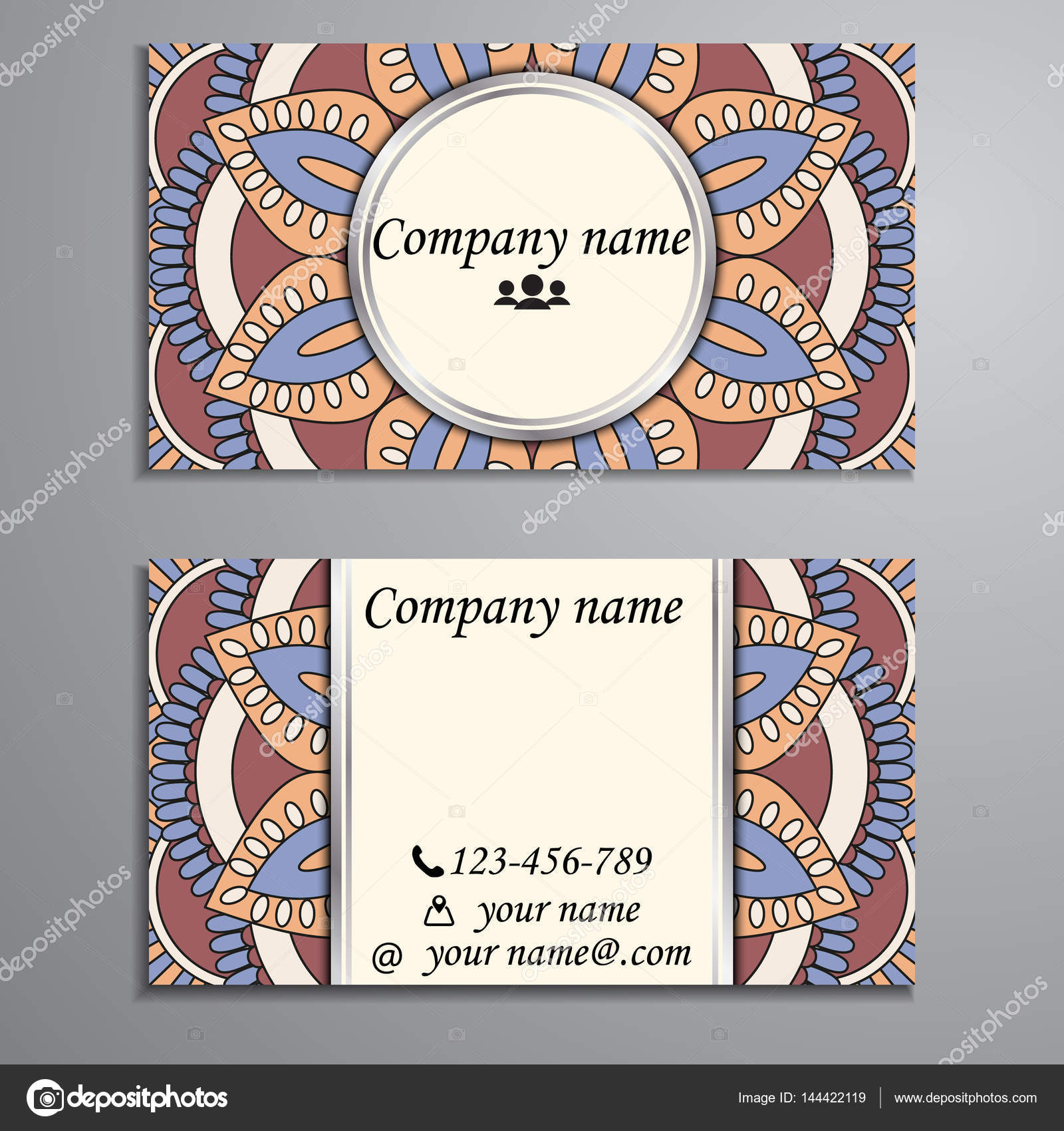 Carte De Visite Et Avec Element Creation Mandala Illustration Stock