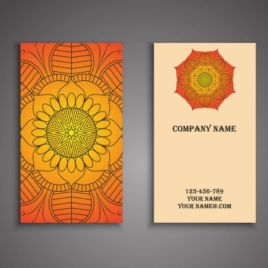 Visiting card and business card set with mandala design element