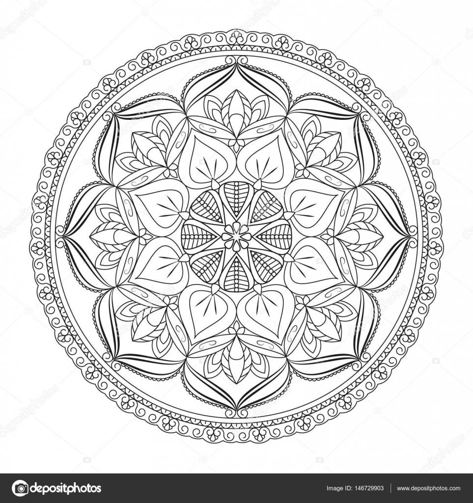 Flower Mandala. Vintage decorative elements. Oriental pattern, v ...