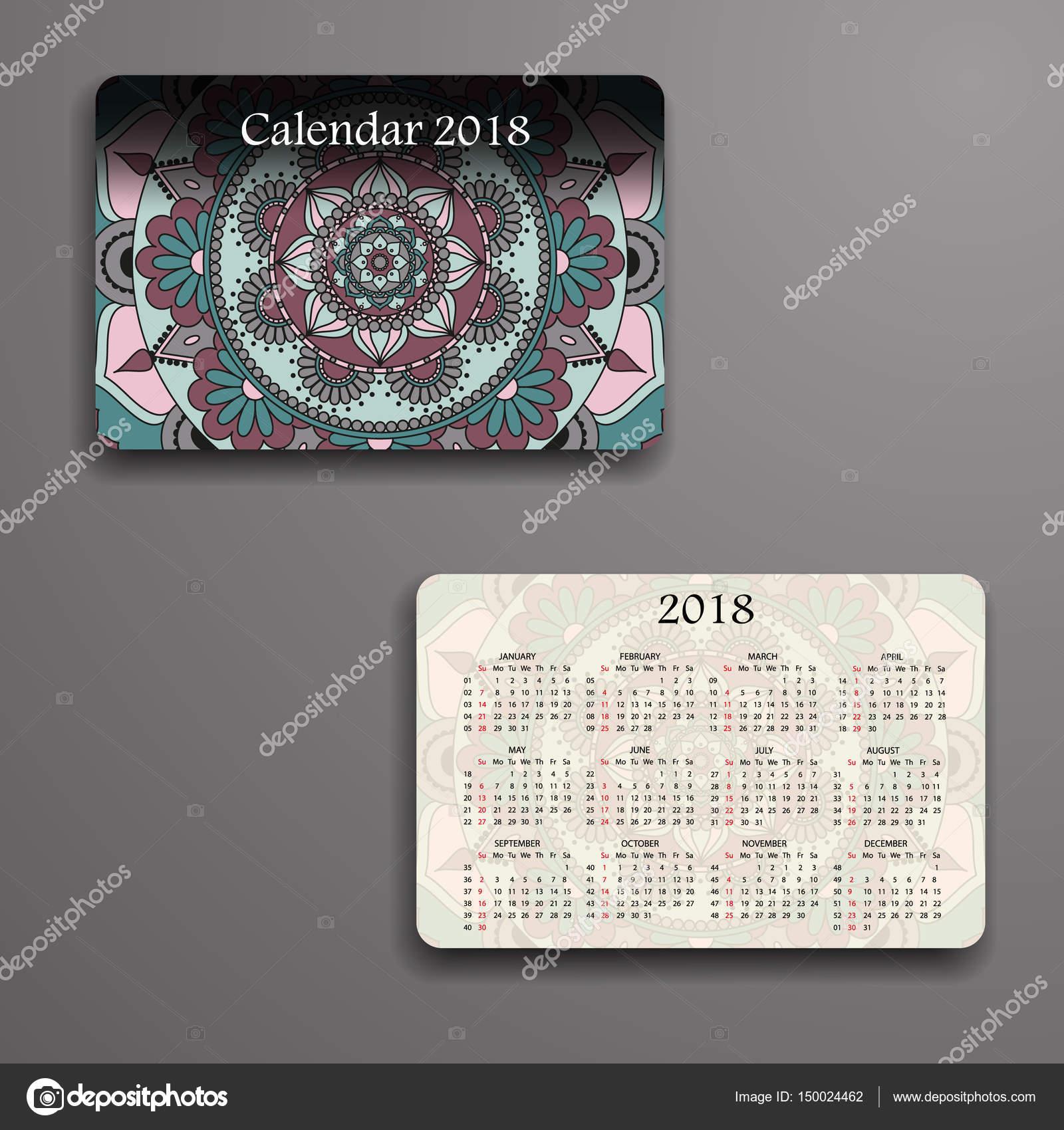 Calendario de vector 2018 con elementos decorativos. De mandala de ...