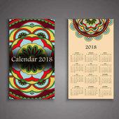 Vektor kalendář 2018 s ozdobnými prvky. Vektor mandala de