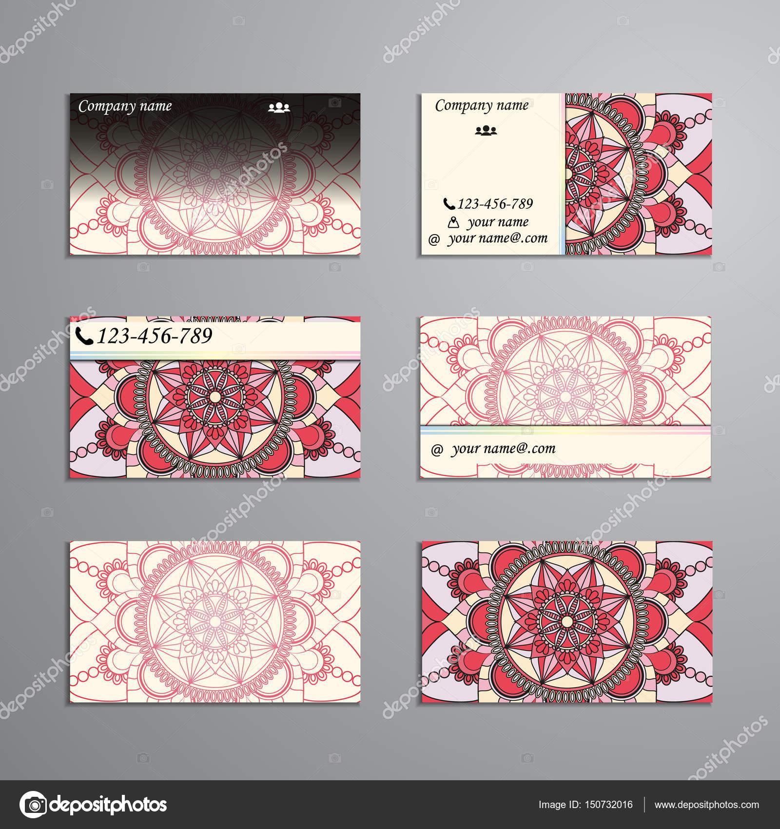 visitenkarte und visitenkarten groen satz blumen mandala muster stockvektor - Muster Visitenkarten
