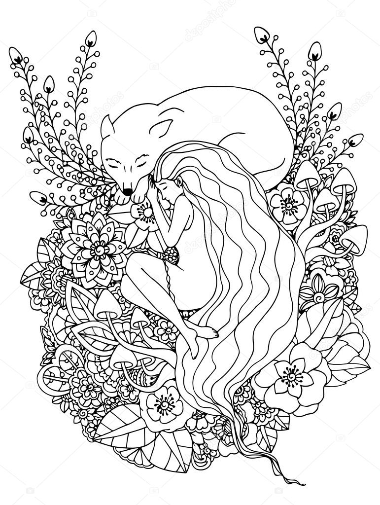 Vector illustration e girl and the wolf sleeping in the flowers. Doodle drawing. Meditative exercises. Coloring book anti stress for adults. Black white.