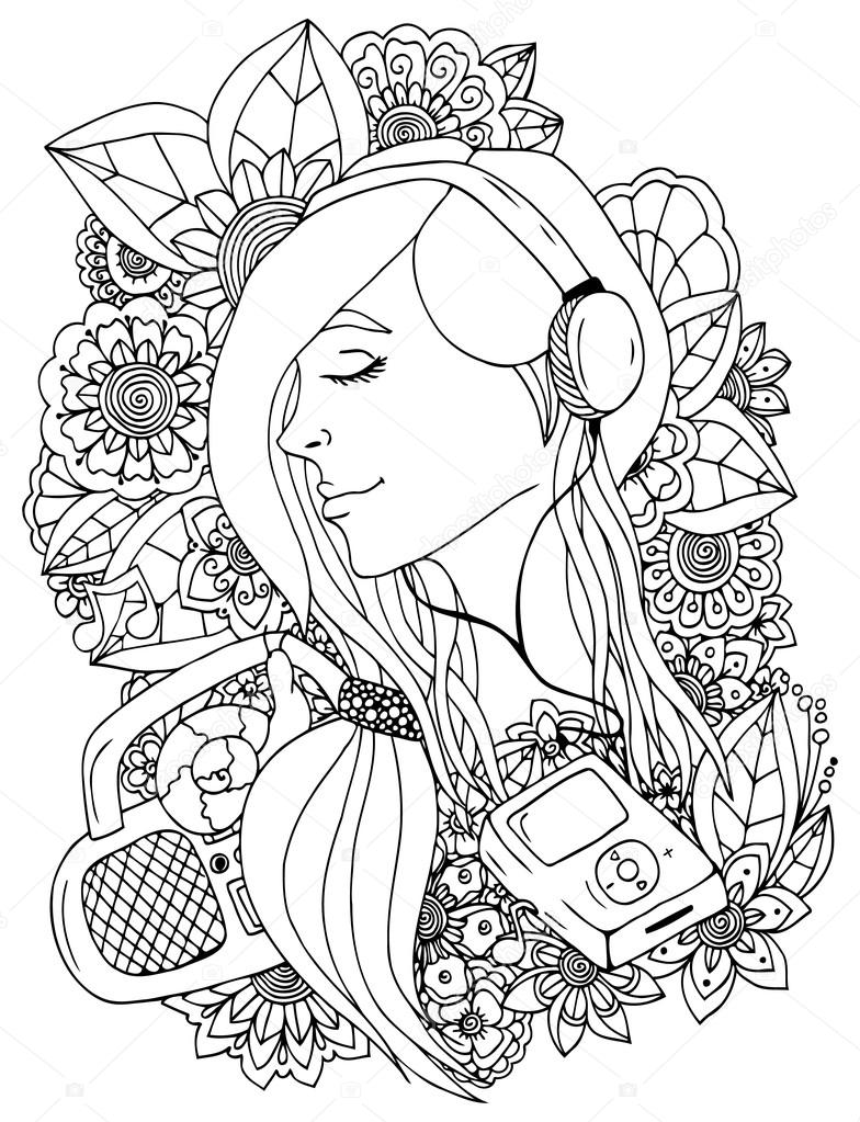 Vector illustration  girl and headphones in the flowers. Doodle drawing. Meditative exercise. Coloring book anti stress for adults. Black white.