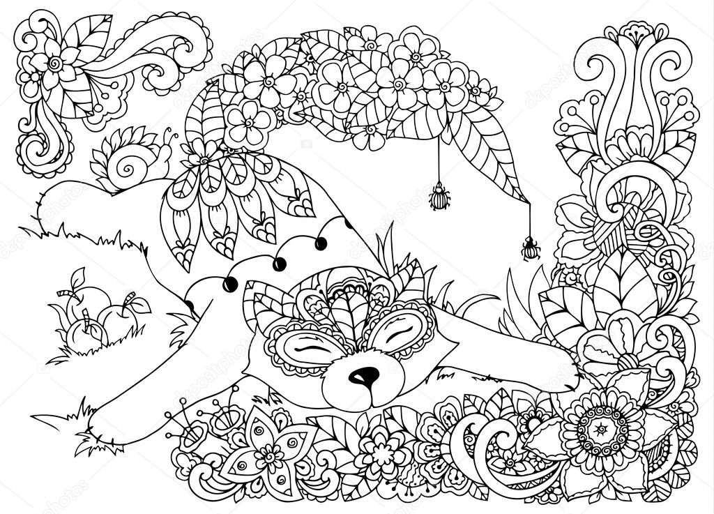 Векторная иллюстрация , Лиса, в цветах. Дудл рисует грибы ...