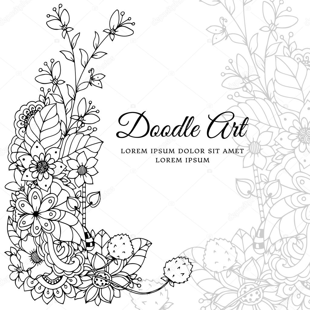 Vector illustration , floral frame. Doodle drawing. Coloring book ...