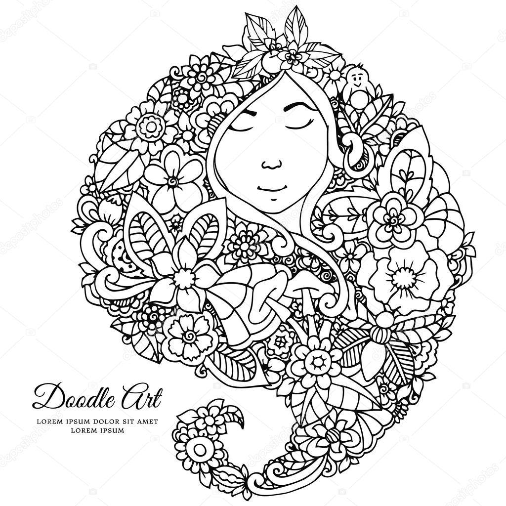 Vector illustration zentangl girl with flowers in her hair. Doodle drawing. A meditative exercises. Coloring book anti stress for adults. Black white.