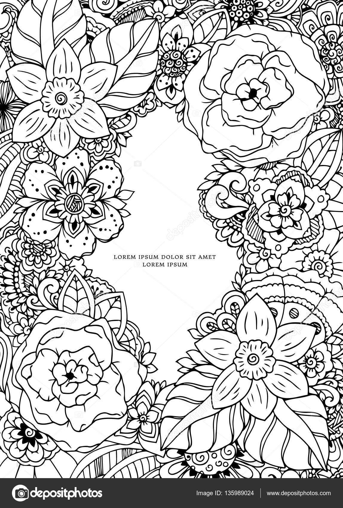 Vector Illustration Zentangl, Blumenrahmen. Doodle Zeichnung ...