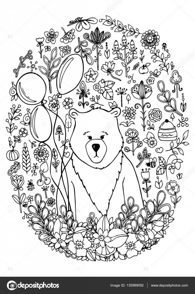 Vector ilustración zentangl oso en el conjunto del marco floral ...
