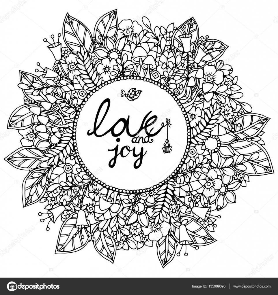 Kleurplaten Voor Volwassenen Liefde.Vector Illustratie Zentangl Ronde Bloemen Frame Met Letering Liefde