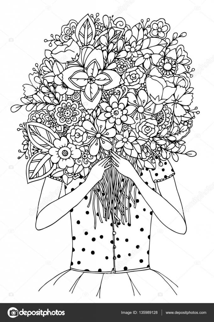 Vector ilustración zentangl, una chica y un ramo de flores. Doodle ...