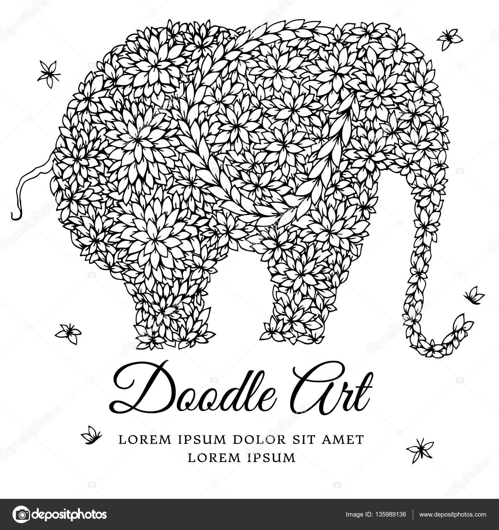 Vector ilustración zentangl elefante Doodle dibujo. Ejercicios de ...