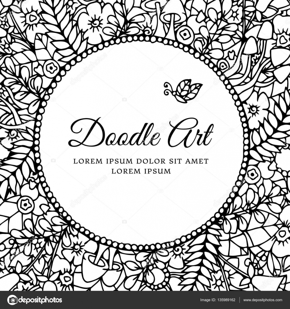 Vector Illustration Zentangl Round Floral Frame With Letering Love And Joy Doodle Drawing Meditative Exercises Coloring Book Anti Stress For Adults