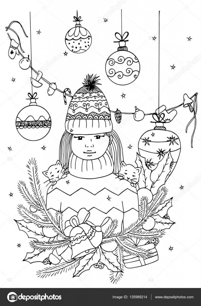 Vector Illustratie Zen Wirwar Meisje En Kerstmis Speelgoed Doodle