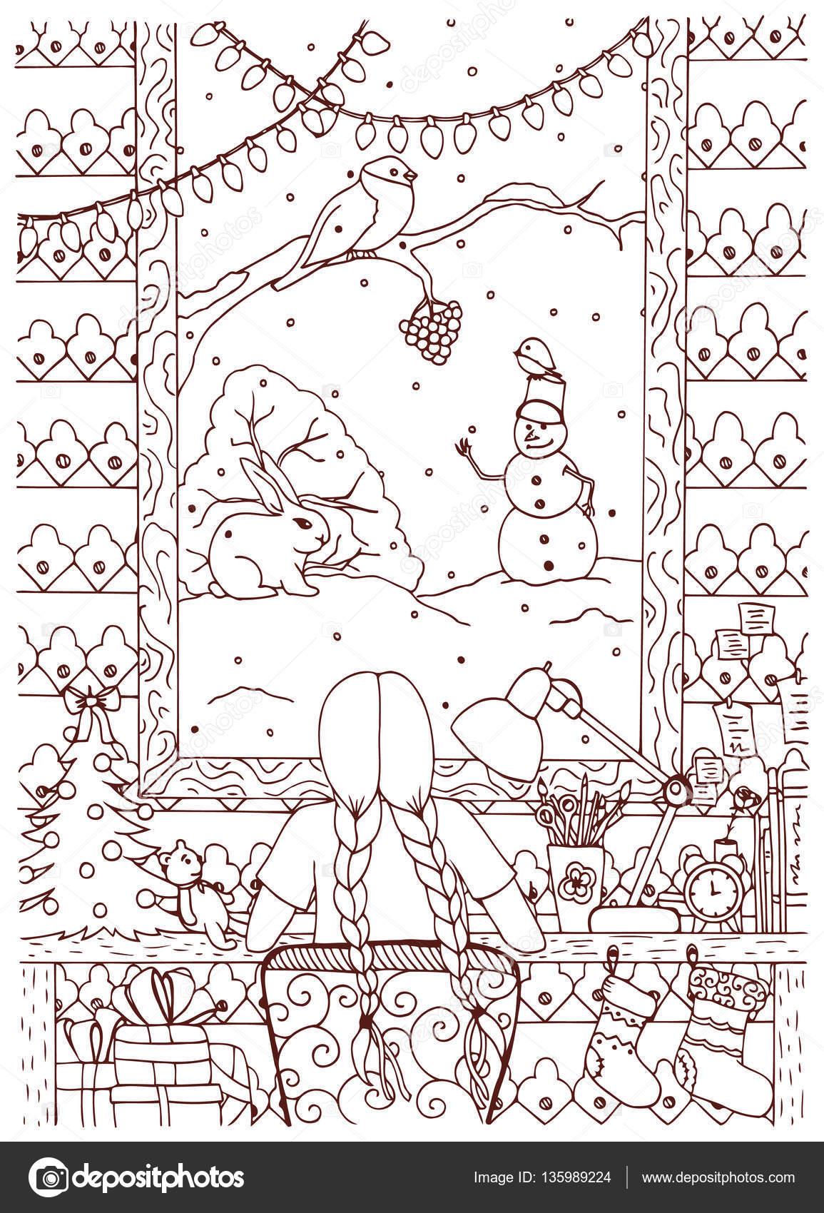 Vector Illustratie Zen Wirwar Kerstmis Meisje Zittend Aan Tafel