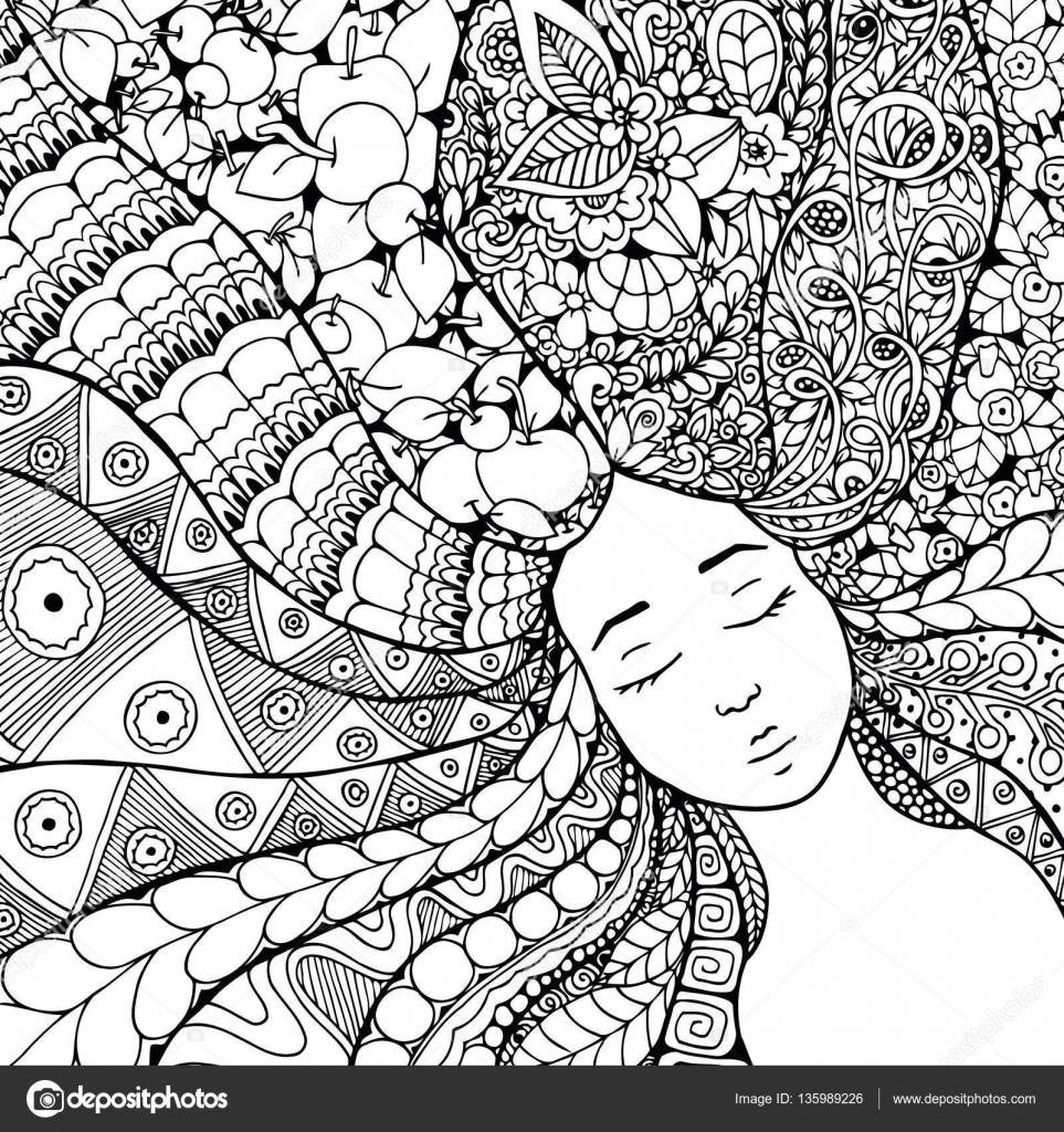 Vector illustration zentangl fille avec des fleurs dans les cheveux Doodle de dessin Exercice méditatif Livre  colorier anti stress