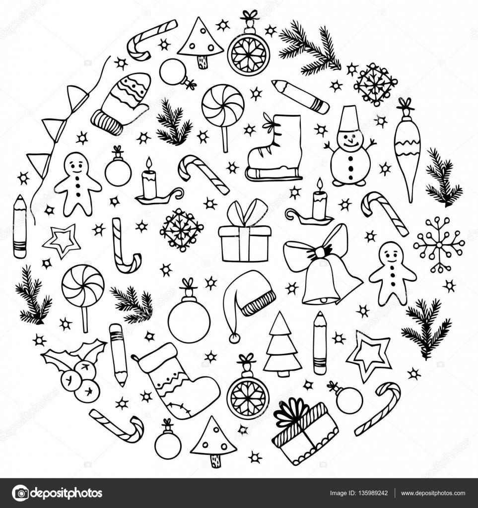 vector illustratie zen wirwar cirkel elementen kerstmis