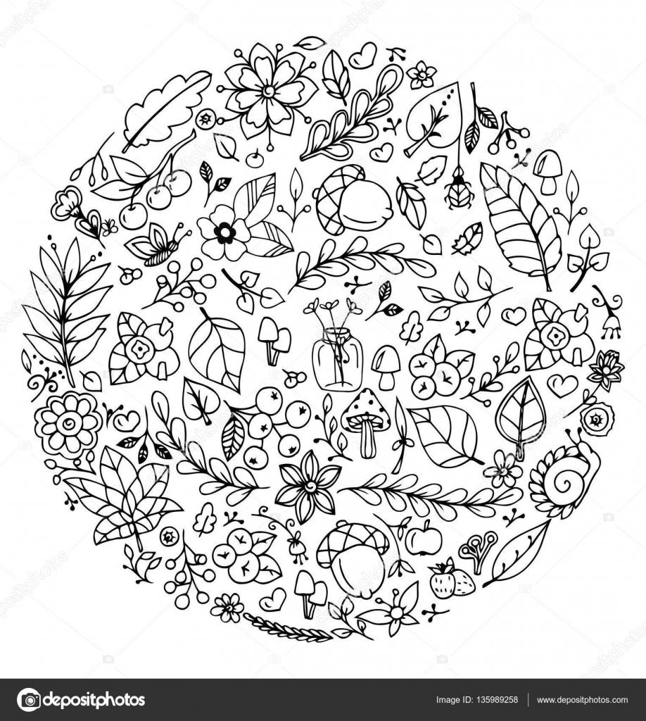 Vector Illustratie Zen Wirwar Cirkel Herfst Set Doodle Tekening