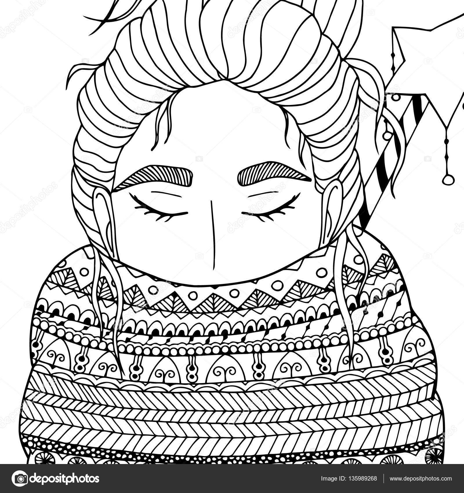 Vector Kerstmis Illustratie Zentangl Meisje In De Sjaal Doodle