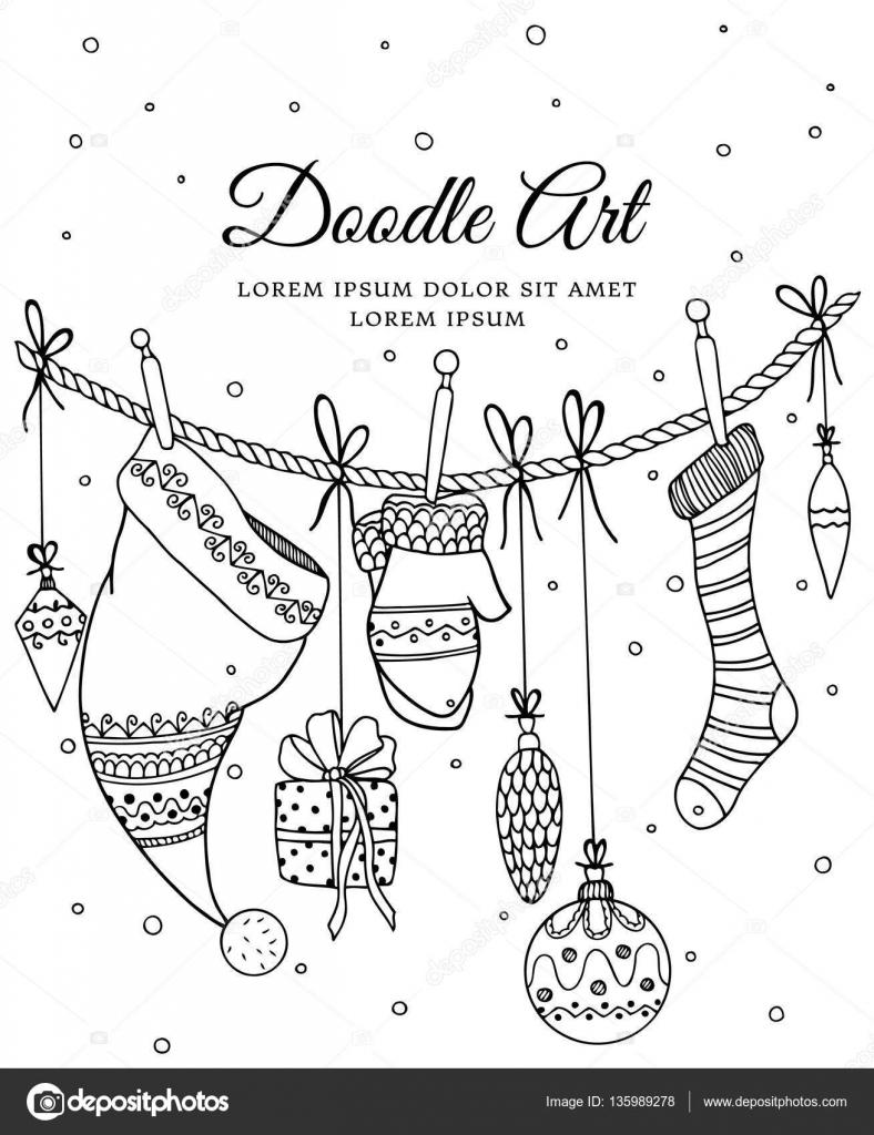 Kleurplaten Van Kerstmis Nieuwjaar.Vectorillustratie Van Kerstmis Nieuwjaar Zentangl Elementen