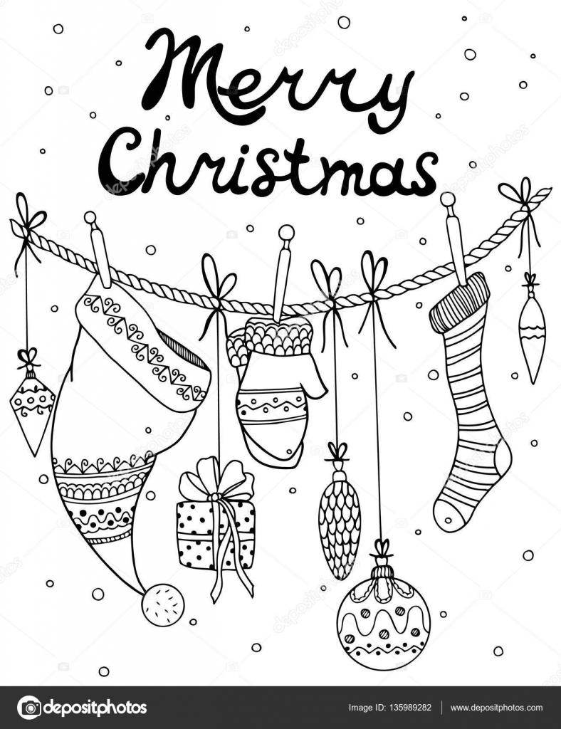 Vectorillustratie Van Kerstmis Nieuwjaar Zentangl Elementen