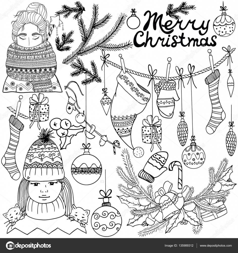 Vector Illustratie Van Het Nieuwjaar Kerstmis Elementen Instellen