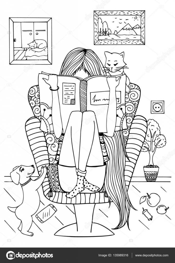 Ilustracion: chica leyendo | Zentangl chica de vector ilustración ...