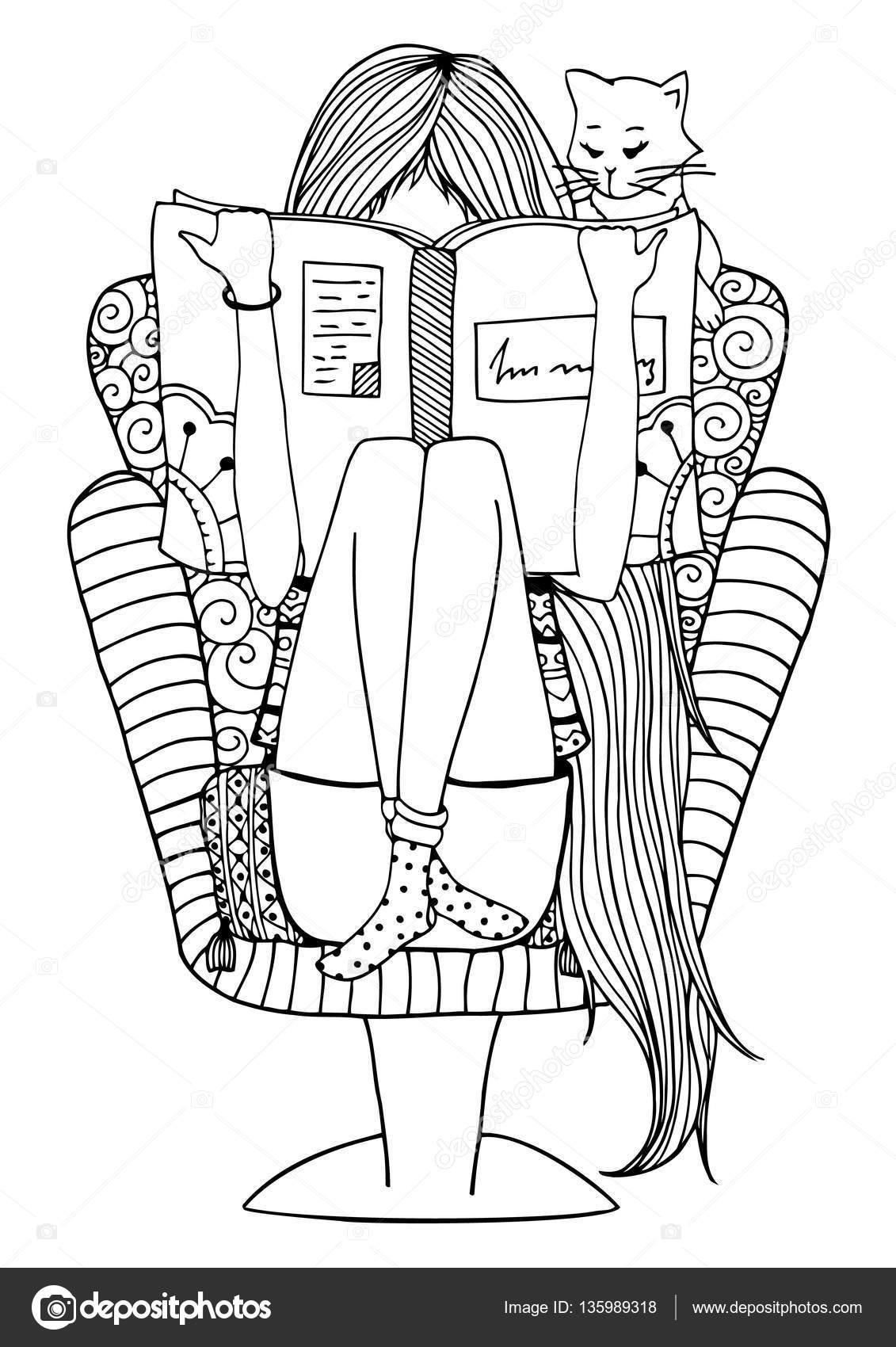 Zentangl chica de vector ilustración sentado en una silla leyendo un ...