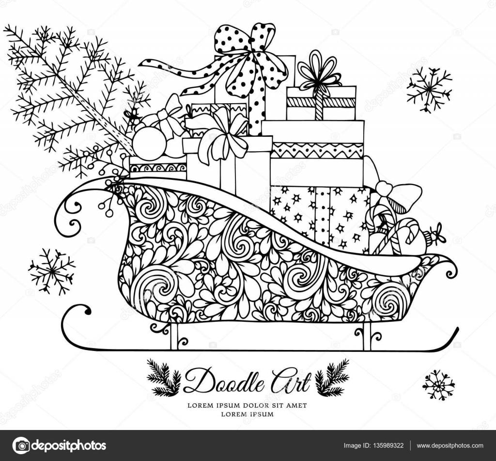 Illustration Vectorielle De Noel Le Traineau De Peres Noel Rempli
