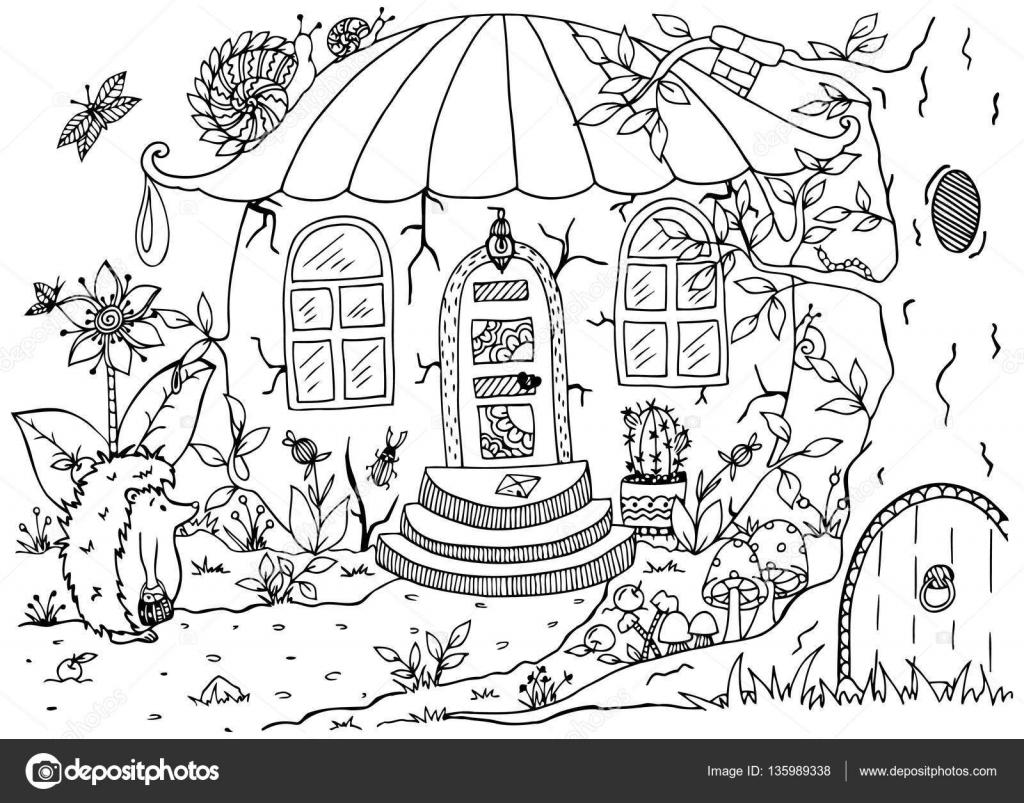 Vector ilustración zentagl, erizo y una casa en el bosque. Doodle de ...